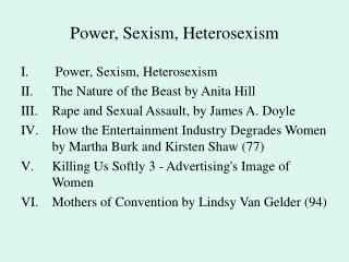 Power, Sexism, Heterosexism