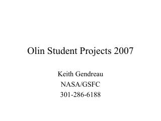Olin Student Projects 2007