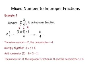 Mixed Number to Improper Fractions