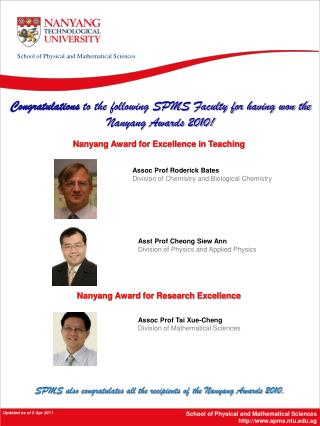 School of Physical and Mathematical Sciences spms.ntu.sg