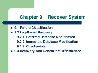 Chapter 9    Recover System