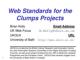 Web Standards for the Clumps Projects