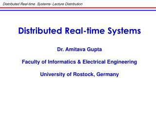 Distributed Real-time  Systems- Lecture Distribution