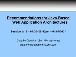 Recommendations for Java-Based Web Application Architectures
