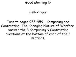 Good Morning  ?   Bell-Ringer