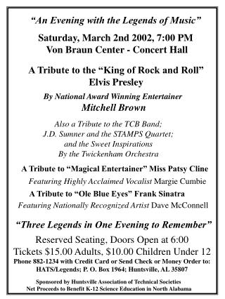 """An Evening with the Legends of Music"""