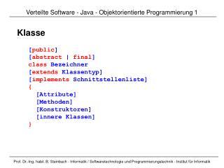 Verteilte Software  -  Java - Objektorientierte Programmierung  1