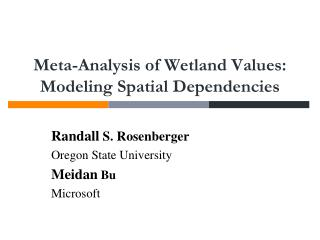 Meta-Analysis of Wetland  Values:  Modeling Spatial Dependencies