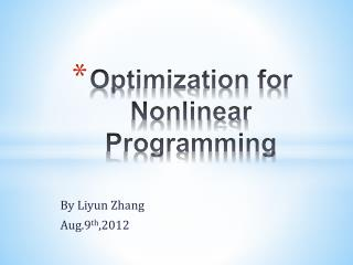 Optimization for Nonlinear  P rogramming