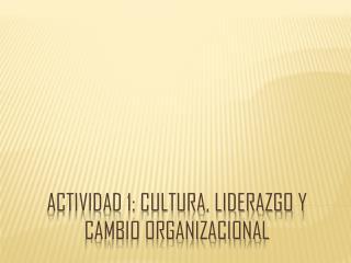 Actividad 1: Cultura, liderazgo y cambio organizacional