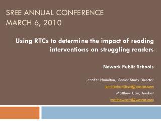 SREE Annual Conference March  6, 2010