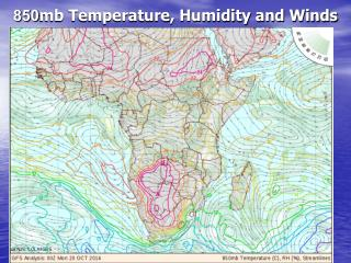 850 mb Temperature, Humidity and Winds