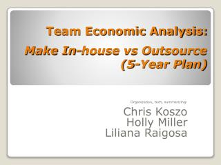 Team Economic Analysis: Make In-house vs Outsource (5-Year Plan)