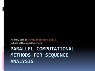 Parallel computational methods for sequence analysis