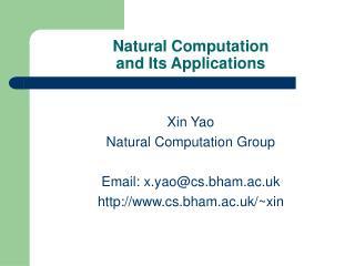Natural Computation  and Its Applications