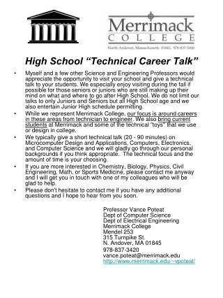 """High School """"Technical Career Talk"""""""