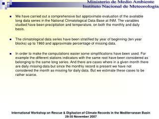 Ministerio de Medio Ambiente Instituto Nacional de Meteorología