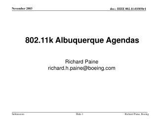 802.11k Albuquerque Agendas