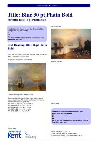 Text Heading: Blue 16 pt Platin Bold