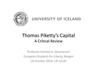 Thomas Piketty�s Capital A Critical Review