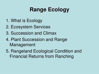 Range Ecology