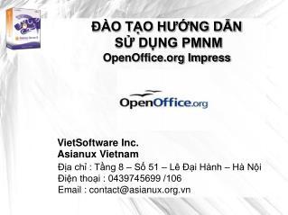 ĐÀO TẠO HƯỚNG DẪN  SỬ DỤNG PMNM OpenOffice Impress