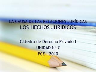 LA CAUSA DE LAS RELACIONES JURÍDICAS LOS HECHOS JURIDICOS