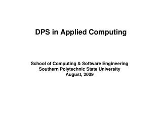 DPS in Applied Computing