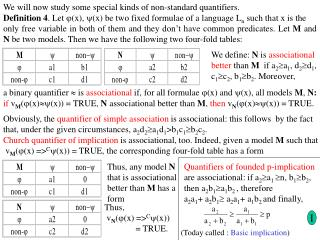 We will now study some special kinds of non-standard quantifiers.