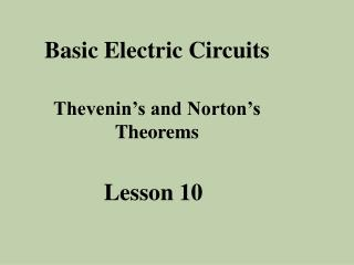 Basic Electric Circuits