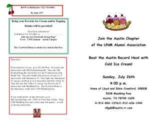 Join the Austin Chapter of the UNM Alumni Association Beat the Austin Record Heat with