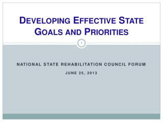 Developing  Effective State Goals and  Priorities