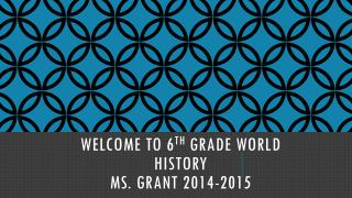 Welcome to 6 th  grade world history ms.  Grant 2014-2015