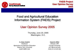 Food and Agricultural Education Information System (FAEIS) Project User Opinion Survey 2005