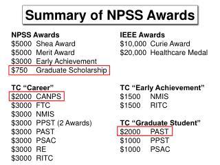 Summary of NPSS Awards