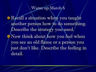 Warm up March 6