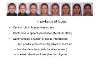 Importance of faces: Central role in human interactions Contribute to speech perception McGurk effect Communicate a weal