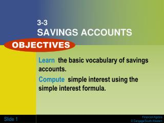 3-3 SAVINGS ACCOUNTS