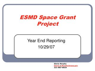 ESMD Space Grant Project