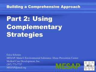 Building a Comprehensive Approach Part 2: Using Complementary Strategies Erica Schmitz