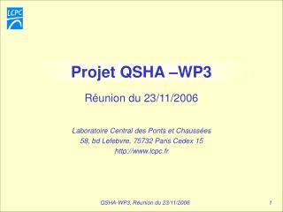 Projet QSHA  WP3