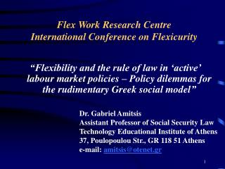Flex Work Research Centre  International Conference on Flexicurity