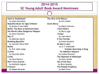 2014-2015  SC Young Adult Book Award Nominees