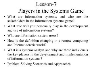 Lesson-7 	Players in the Systems Game