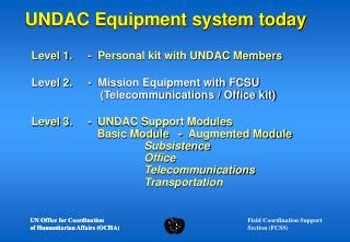 UNDAC Equipment system today
