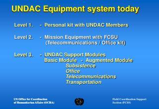 UNDAC Equipment system today