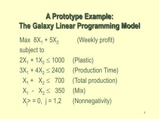 A Prototype Example:  The Galaxy Linear Programming Model