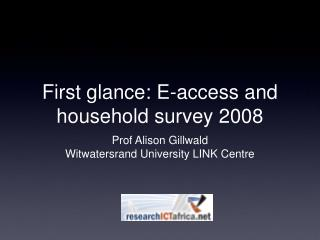First glance: E-access and household survey 2008