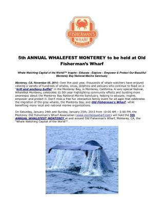 5th ANNUAL WHALEFEST MONTEREY to be held at Old Fisherman's