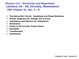 The Series RLC Circuit.  Amplitude and Phase Relations Phasor Diagrams for Voltage and Current